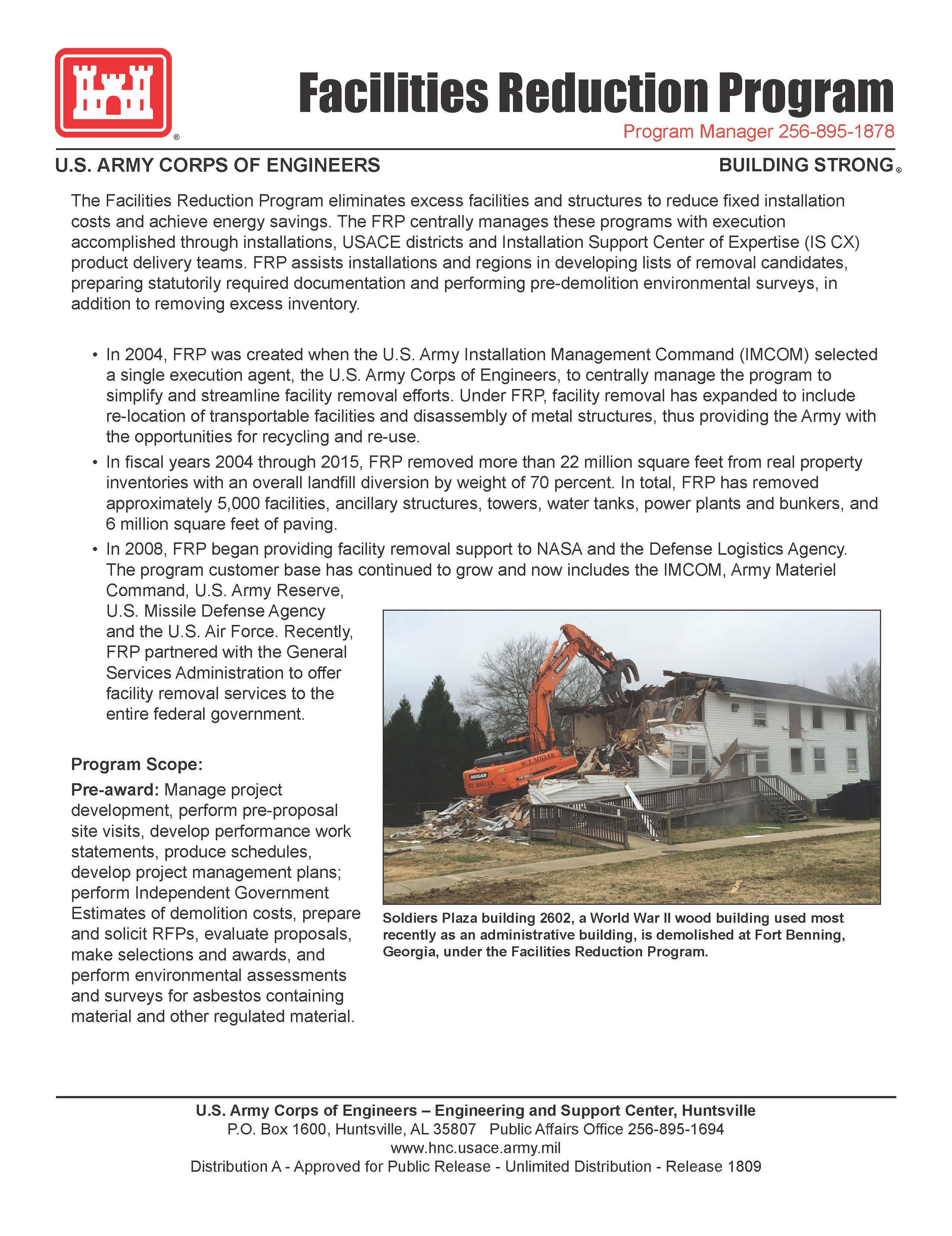 Facilities Division - Facilities Reduction Program > U S