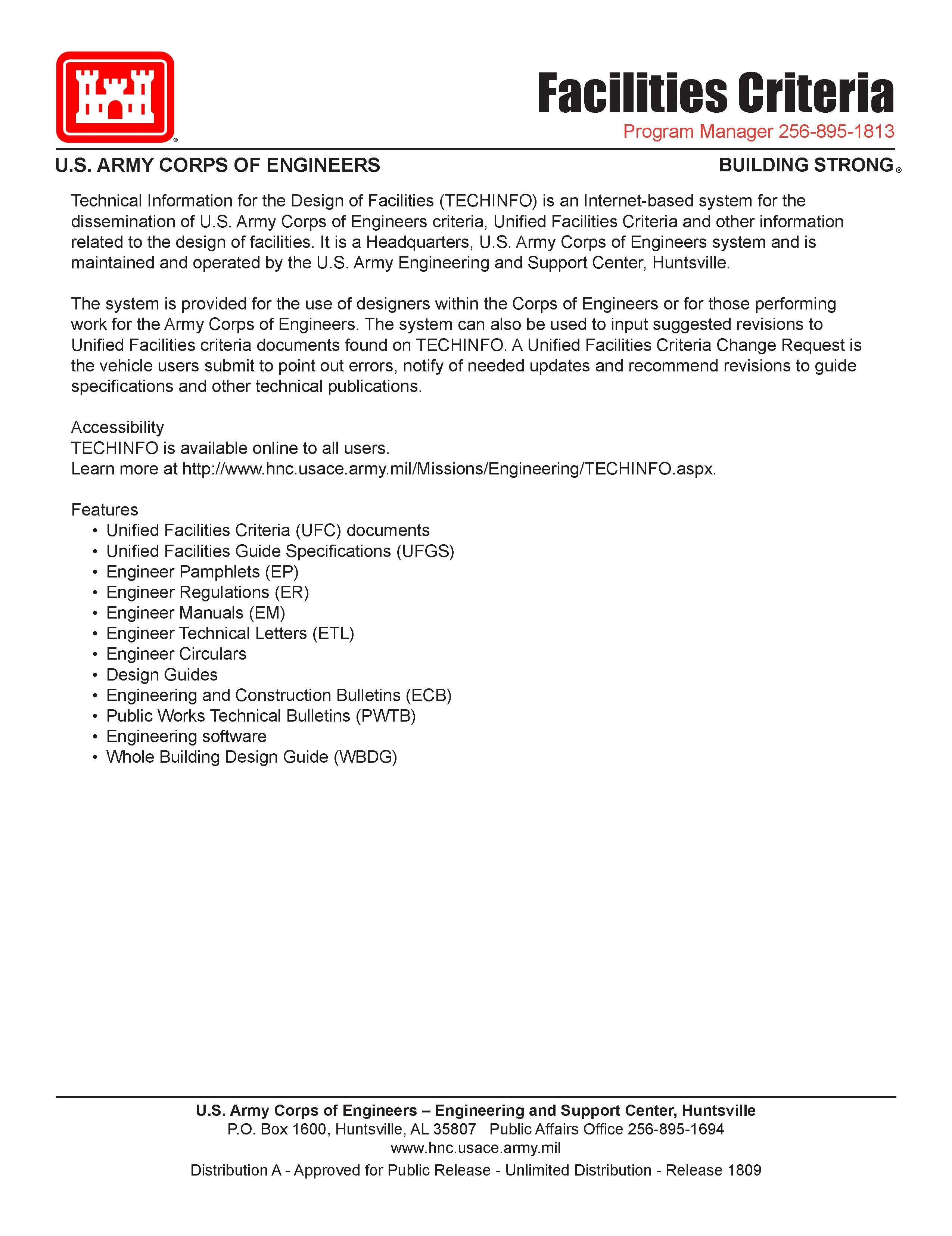 Download the Facilities Criteria Fact Sheet (PDF)