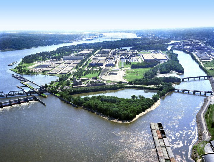 image of Rock Island Arsenal from the air